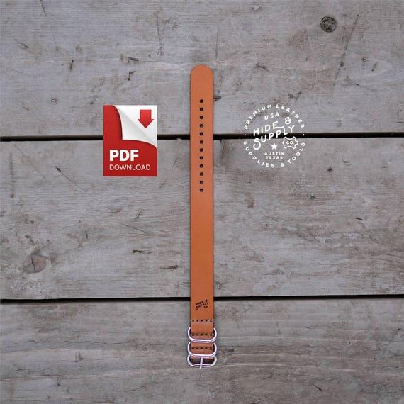 watch strap pattern guide 20mm slip through nato zulu timex etsy