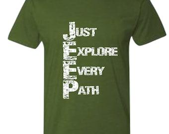 Jeep, Just Explore Every Path, Jeep apparel, Jeep shirt, Mens tee, Mens shirt, Jeep t shirt