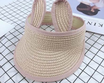 5eb90d83ecd Pink Color Cute Rabbit Toddler Ears Straw Visor Sun Hat Summer Children Hats  Wide Brim Beach Sun Protection Cap For Girl And Boy
