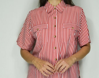 3c400a687c18dd Vertical stripe shirt 90s striped button up in red and white deadstock  vintage - Large