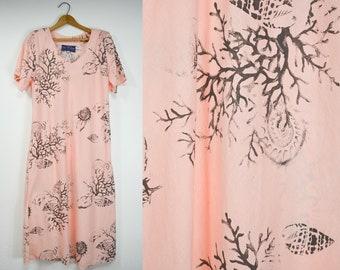 6f1c0e3756 Coral reef summer beach dress Italian vintage dress vacation travel thin  cotton oversized dress - Small