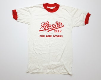 2e3cfd823 Vintage beer lover shirt Stroh's Beer t shirt 70s DEADSTOCK ringer tee red  and white tshirt gift for him mens size small