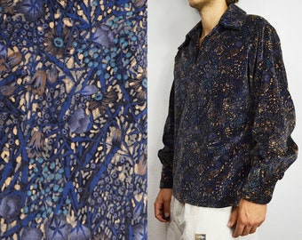 092b95b138b Velvet shirt men 70s hippie shirt boho floral shirt in dark blue wide  collar pullover shirt flower print men stoner shirt - Large