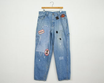 5633be1e Vintage Guess jeans distressed patched denim carpenter jeans mens  streetwear Chapparal - 37