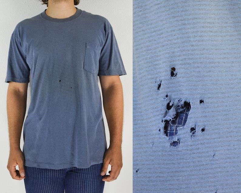 c6a77f9c9 Faded blue pocket tee distressed tshirt striped vintage t   Etsy