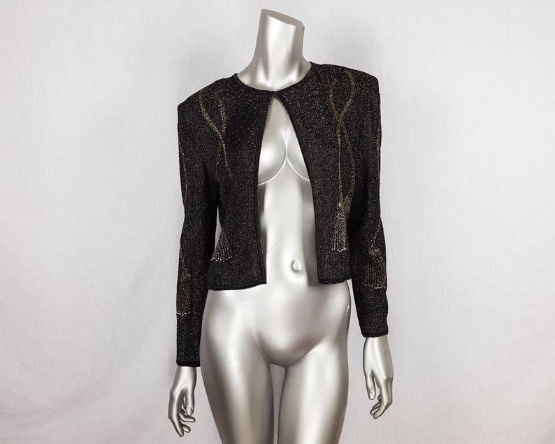 80s beaded jacket sparkly open cardigan glittery blazer