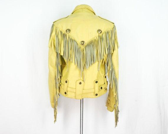80 s frange veste jaune veste RIVETS tête de mort cuir biker cuir mort surdimensionné concho détresse gland en cuir ceinturée moyen de mens vêtements punk M 1ef7c3