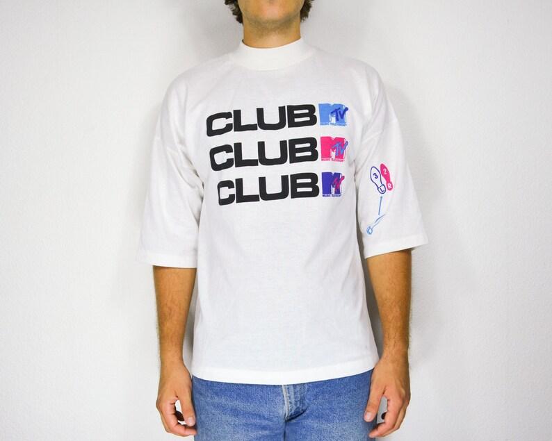 cdf74135e84 Club MTV shirt 1989 mock turtleneck t-shirt streetwear tshirt mens - One  Size Fits All