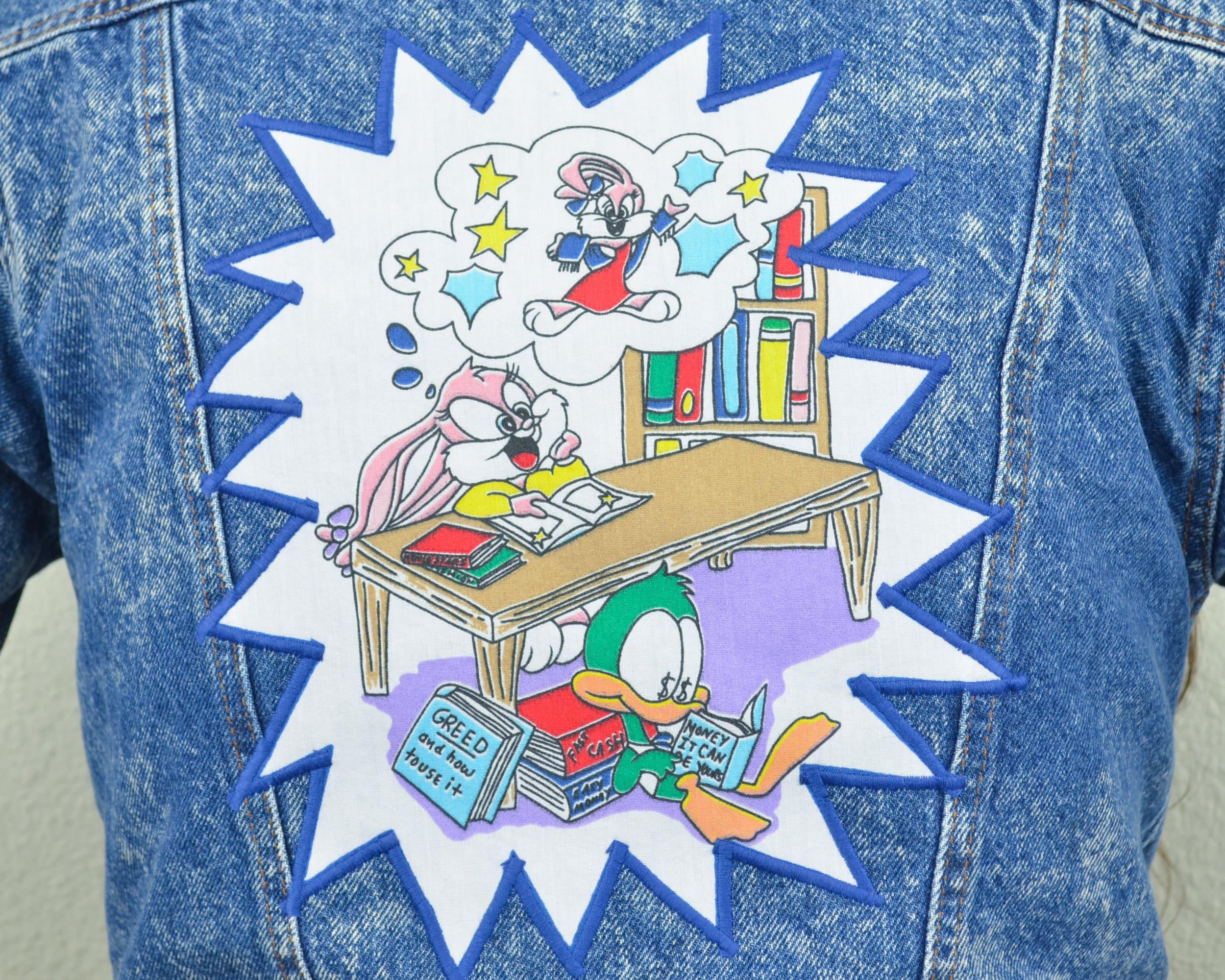 Animaniacs Elmyra Duff tiny toon adventures distressed denim jacket acid wash jean jacket with  back patch - xs s m