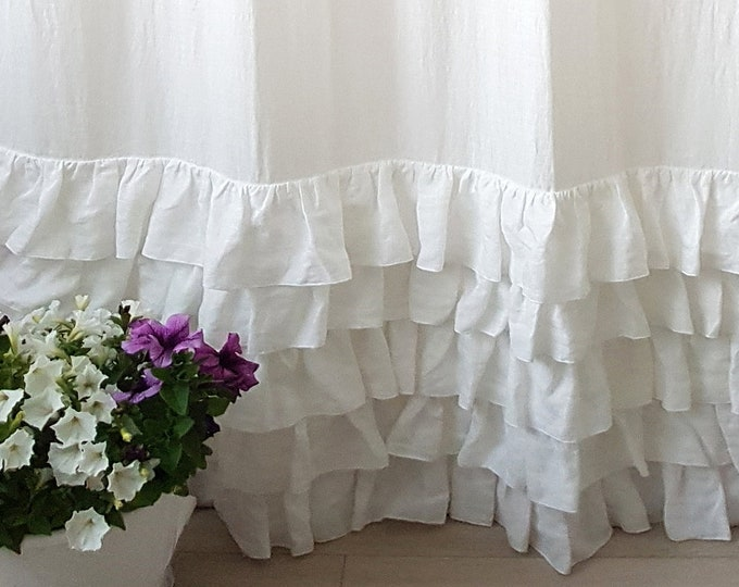 Linen ruffled curtain panels White curtains Shabby chic curtains