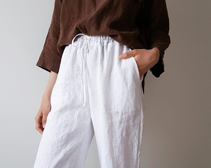 Linen pants CHRISTY / White linen trousers / Summer pants