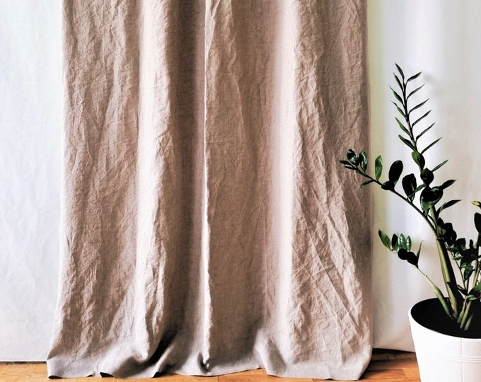 Linen tie top curtains Natural linen curtains Shabby chic curtains Bedroom curtains Custom curtains