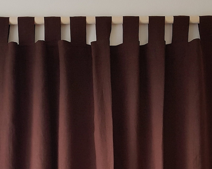 Linen tab top curtains Shabby chic curtains Privacy curtains Custom curtains