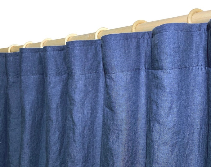 Wide linen curtain panel / Lined curtains / Natural curtains
