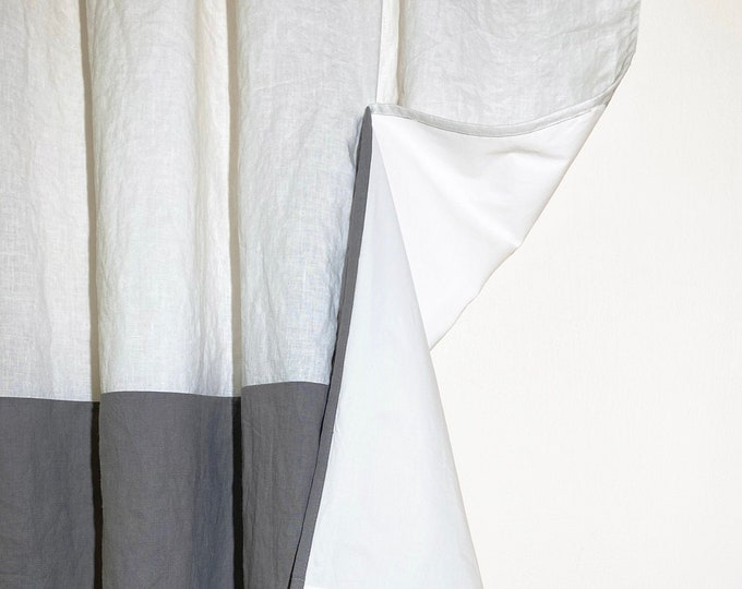 Linen curtain in two colors Blackout curtains Shabby chic curtains Farmhouse curtains