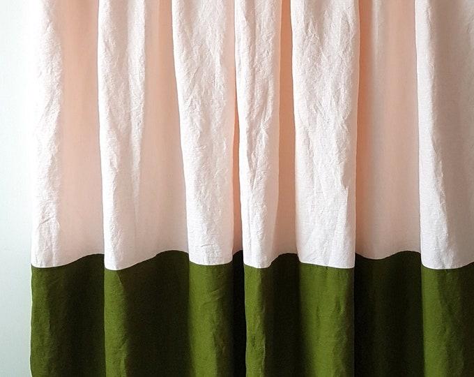 Linen color block curtains Shabby chic curtains Organic curtains Farmhouse curtains