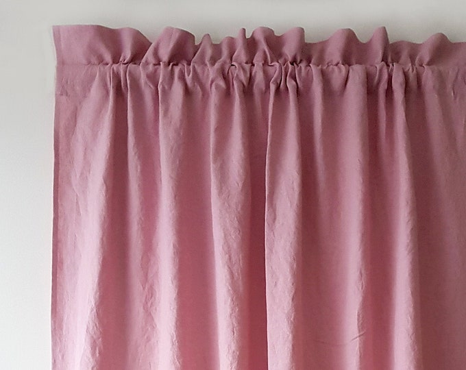 Linen rod pocket curtains Panel with decorative header Shabby chic curtains Blackout curtains Linen drapes