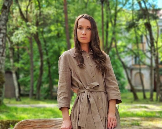 Linen button down dress TINA / Long shirt dress.