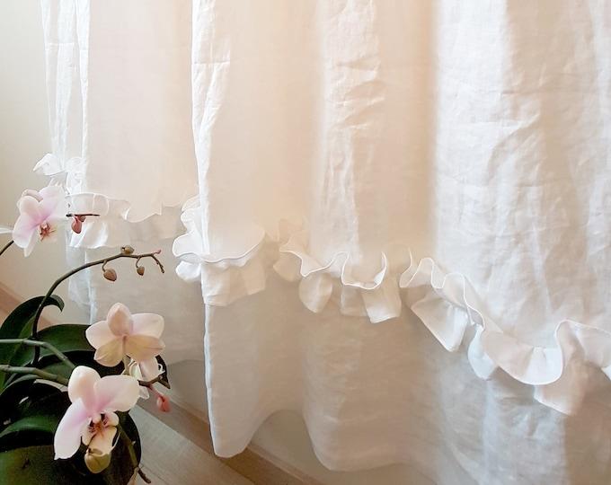 Linen ruffle curtains Shabby chic curtains Custom curtains Organic fabric