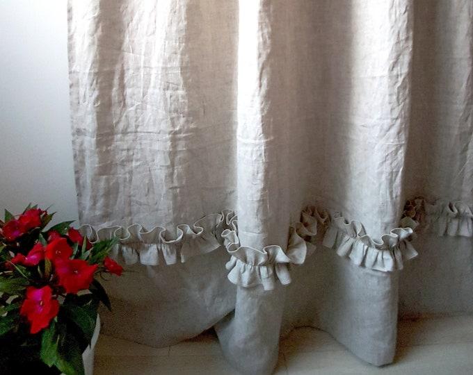 Linen ruffle curtains Shabby chic curtains Organic curtains Custom curtains
