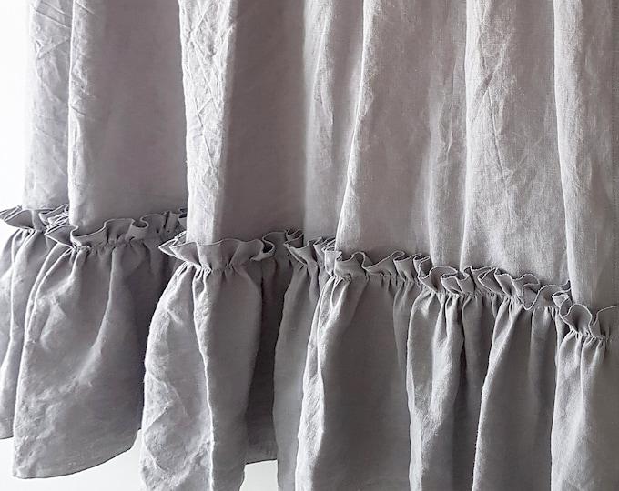 Linen curtain panel with ruffles Light grey curtains Shabby chic curtains Custom curtains