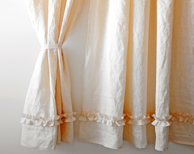 Linen curtains Ruffle curtains Shabby chic curtains Organic curtains Custom curtains