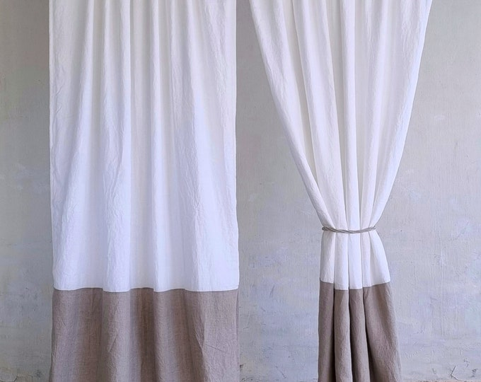 Linen curtain panel in two colors / Rod Pocket Curtains
