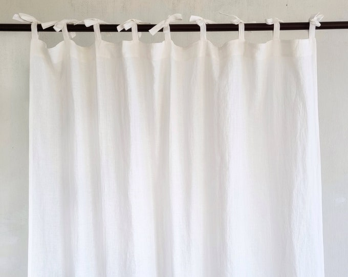Linen Curtain Panel / Tie Top Curtains / Farmhouse Curtains