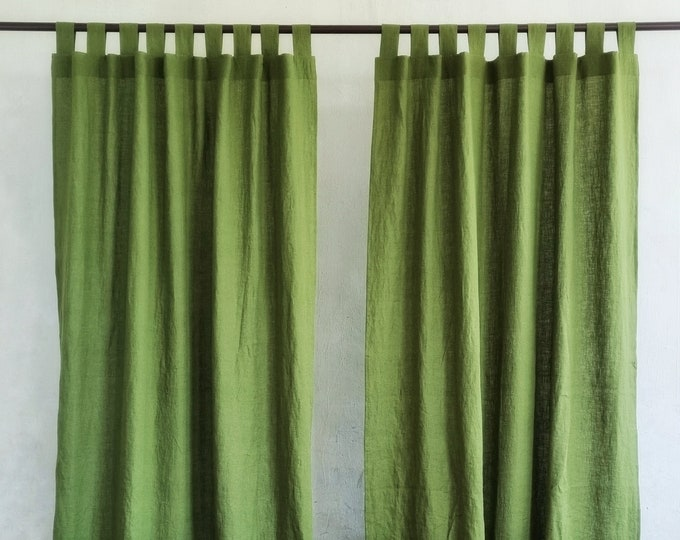 Linen Curtain Panel. Tab Top Linen Drapes