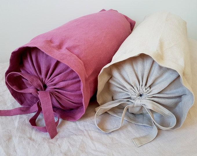 Bolster pillow cover Neck roll pillow Linen pillow case  Premium polyester pillow inner