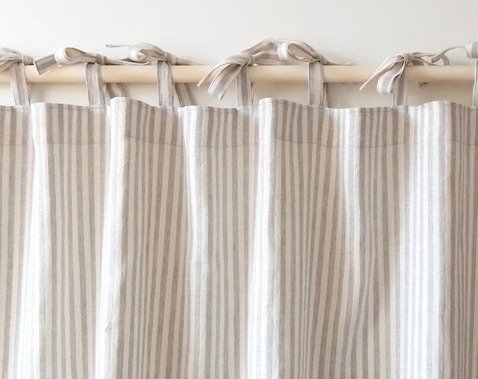 Linen curtains Natural striped curtains Kitchen curtains Bathroom curtains Custom curtains