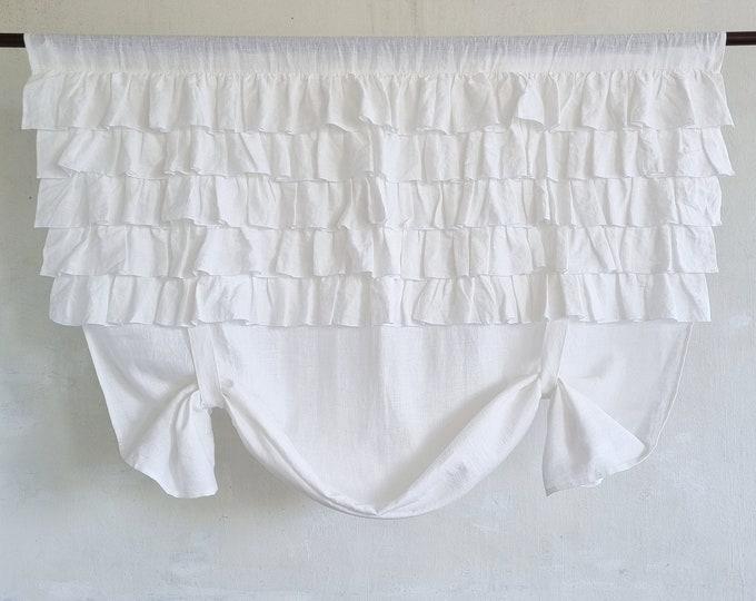 Tie up linen curtain / White linen valance / Tie up blind
