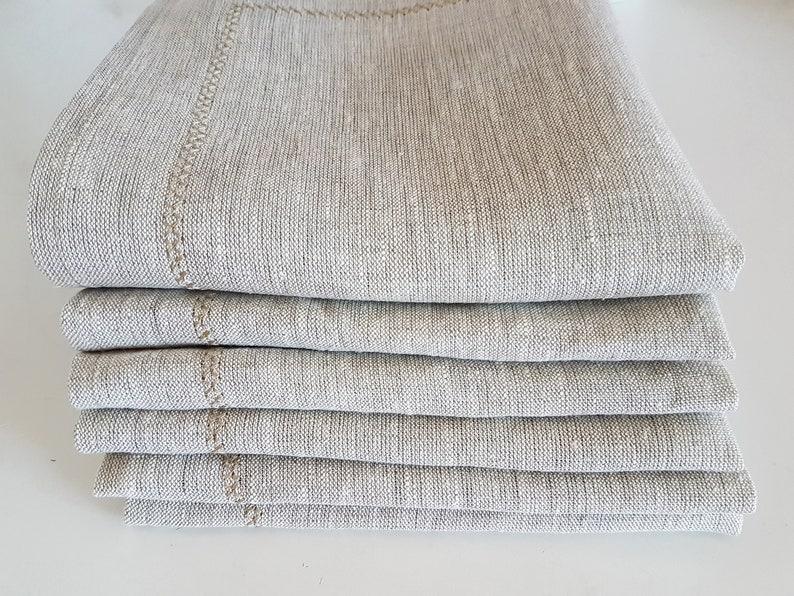 Linen napkins set Cloth dinner napkins Embroidered  Handmade linen napkins