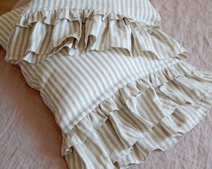Ruffled linen pillowcase Striped ruffle pillow Stone washed linen Queen King Custom sizes