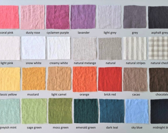 Linen fabric samples Stone washed linen for curtains, pillows and clothing Linen fabric swatches