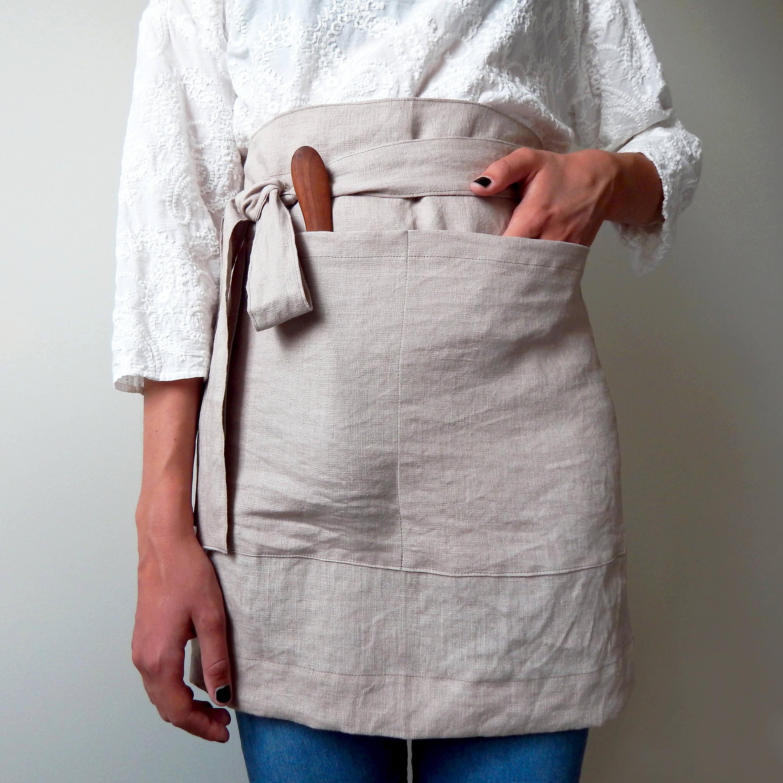 Linen apron Cafe apron Half apron Rustic apron Stonewashed linen