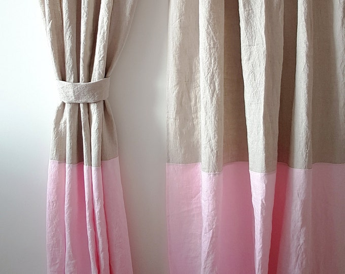 Linen curtains in two colors Color block curtain panel Shabby chic curtains Organic curtains Farmhouse curtains