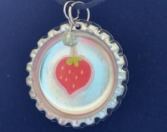 Strawberry Bottle Cap Necklace