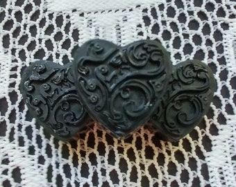 Heart Shaped Activated Charcoal Soap with Tea Tree Essential Oil (.5oz ea, Pack of Three)