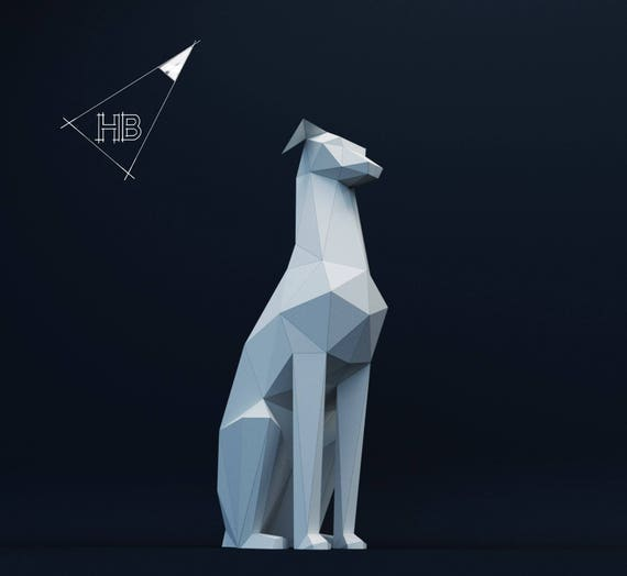 Dog, paper dog, paper model, 3D model, Papercraft, hobby idea, decor,  animal head,decor, paper Trophy, origami, pdf, low poly, template