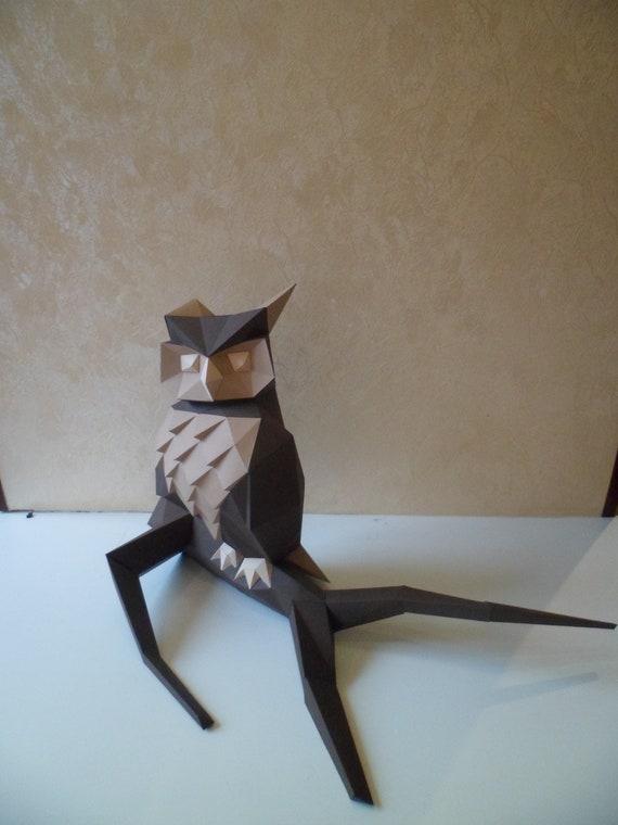 owl paper owl paper model 3d model papercraft hobby idea etsy