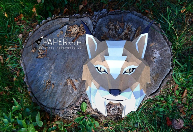 Lynx, paper lynx, 3D model, trophy lynx, wall, Papercraft, DIY, decor,  animal head, paper Trophy, origami, pdf, pepakura, low poly, template