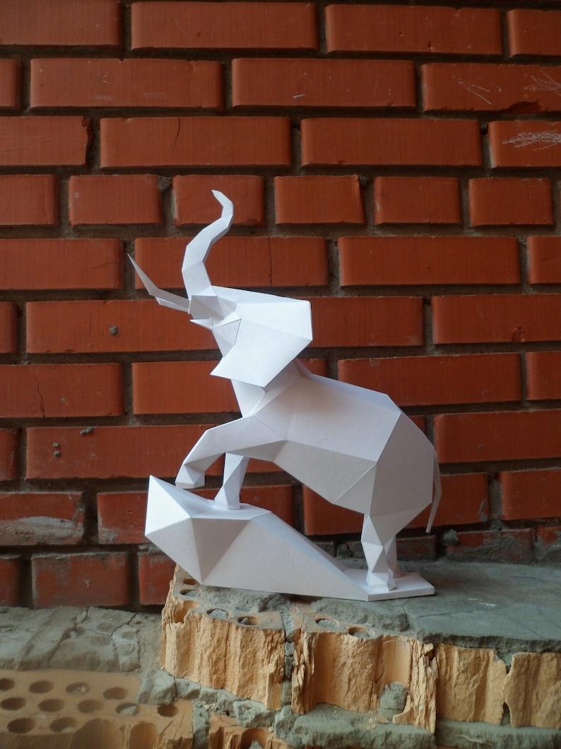 Elephant, paper elephant, 3D papercraft model, Papercraft, paper, DIY,  animal head, paper Trophy, origami, pdf, decor, low poly, template