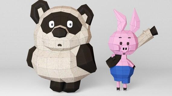 Penny, Winnie Pooh, pig , paper, bear, 3D model, Papercraft, DIY, decor,  animal head, paper Trophy, pdf, pepakura, low poly, template, model