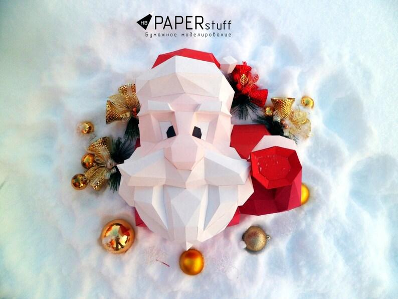 Santa Claus, Paper Santa, paper model, 3D model, Papercraft, animal head,  trophy santa,decor, paper Trophy, origami, pdf, low poly, template