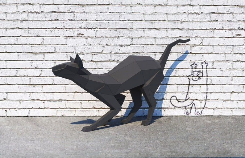 Cat halloween decor pdf low poly cat witches template decor hobby idea paper cat 3d model black cat origami Trophy Papercraft