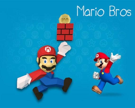 Mario Mario Bros Bros Paper Model 3d Model Papercraft Etsy