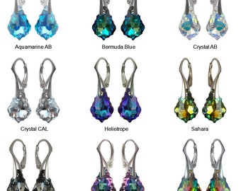 925 Sterling Silver Earrings made with Swarovski  Baroque 16mm - 9 Colors