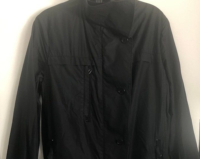 Vintage HELMUT LANG cotton long black lightweight unisex jacket size S