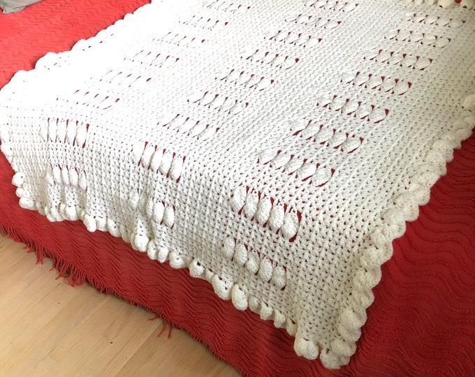 Handmade Crocheted Afghan Blanket/throw. Baby blanket